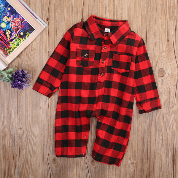best selling Baby boys girls spring clothing plaid romper jumpsuit red black check classic boutique kid clothing toddler long sleeve bodysuit 0-24M