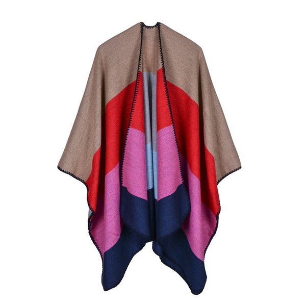 2018 New European Colorful Patchwork Cashmere Pashmina Winter Scarves Long Ponchos and Capes Poncho Scarf for Women