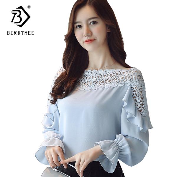 2018 Nouvelle Arrivée D'été Coréenne Style Femmes Mousseline de Soie Slash Neck Flare Manches Mince De Mode Épaule Froide Chemises Vente Chaude T82917L