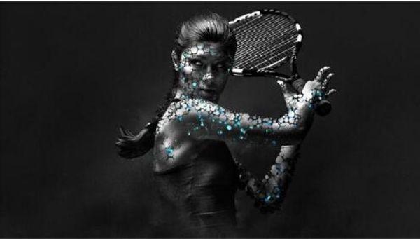 Искусство современный дом украшения стены живопись холст печать женщины хвостики теннисные ракетки фото манипуляции селективный окраска звезда