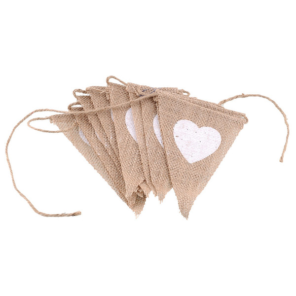 Wholesale-New Triangle Birthday Party Linen Heart Pennant Flag Banner Wedding Home Decor event supplies Burlap Lace