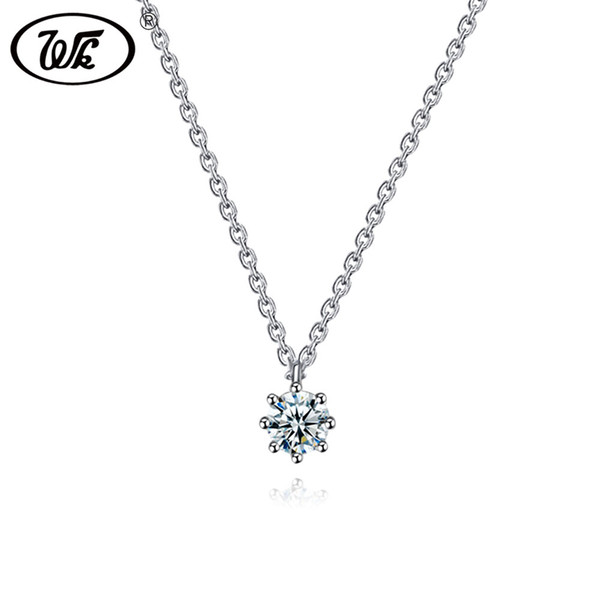 wk classic simple small austrian crystal necklace 925 sterling silver women choker 16