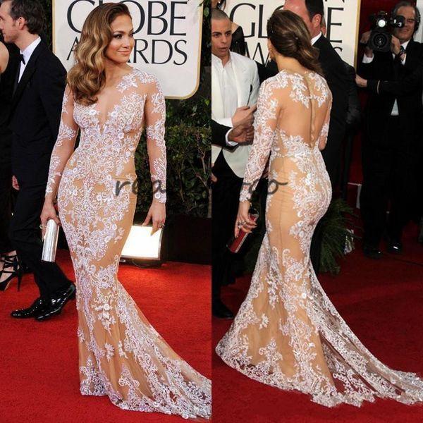 Champagne Oscar Sexy Zuhair Murad Jennifer Lopez Lace Bateau Sheer Mermaid Prom Dresses Long Sleeve Evening Gowns Celebrity Dresses