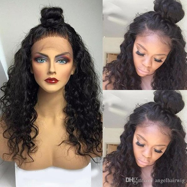Lace Front Human Hair Wigs For Black Women Kinky Curly Wigs Full Lace Wig Brazilian Virgin Hair Wigs With Baby Hair Bleached Knots