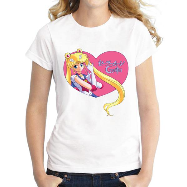 Femmes Tee Nouvelle Mode Femmes T-shirt 2018 Manches Courtes Dame Tops Sailor Moon Cristal Coeur Imprimé Tee Shirts