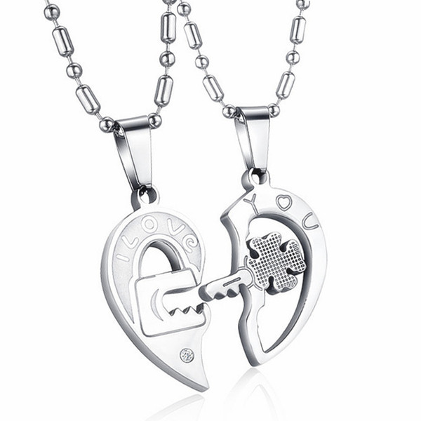 210e037ae6 Mens Womens 2pcs Stainless Steel Puzzle CZ Love Matching Heart Lock And Key  Lucky Four Leaf