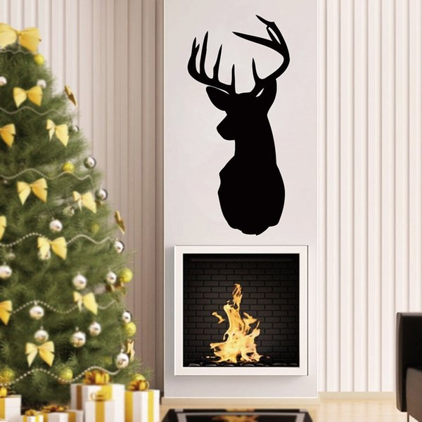 Removable Deer Head Wall Decals Animals Deer Silhouette Wall Sticker For Living room Bedroom home Decoration