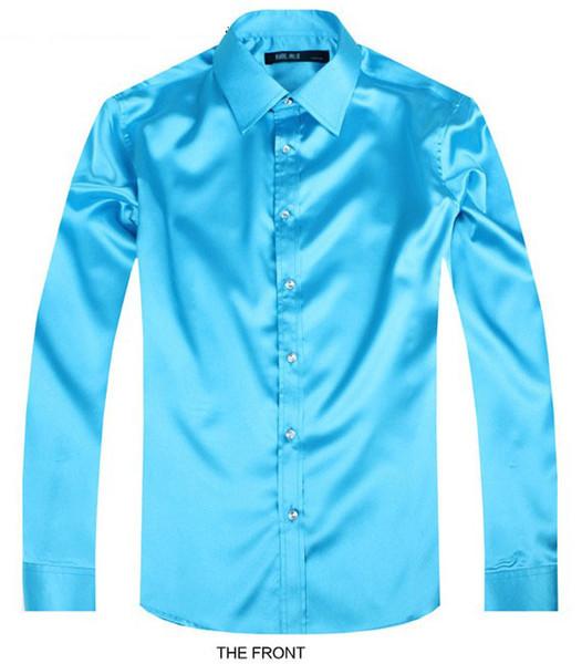 2017 Sky blue Luxury groom shirt men's long sleeve wedding shirt party Artificial silk dress M-3XL 21 colors FZS30