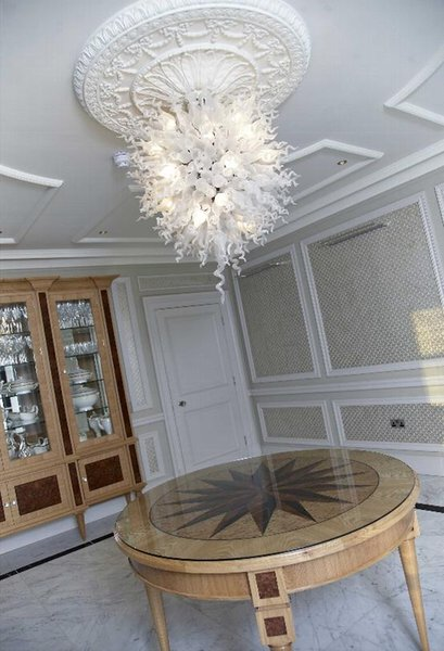 White Pretty LED Crystal Chandelier Wholesale Cheap Price Free Shipping Chihuly Glass Pendant Lamp Light Fixtures