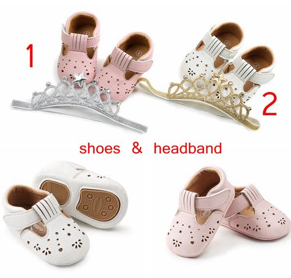 ins sommer mädchen loch pu spazierschuhe mit stirnband baby laubsägearbeiten sandalen spazierschuhe säuglingskrone stirnband rosa weiß