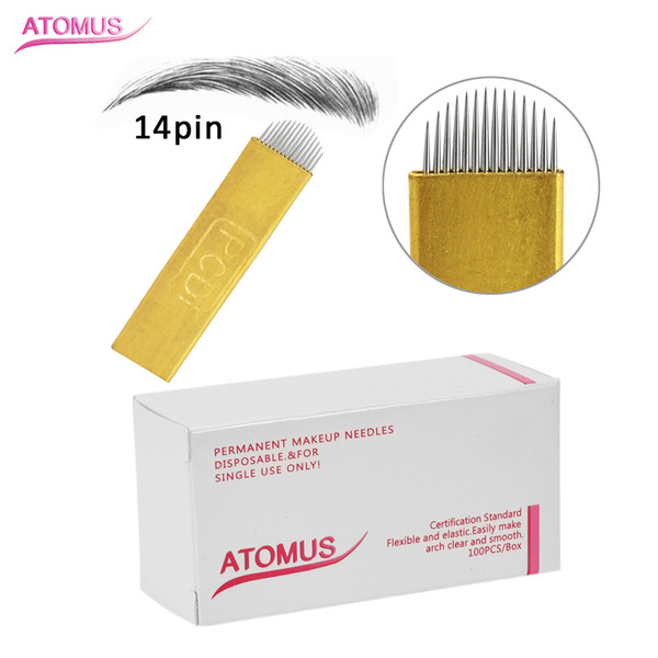 100 pcs PCD U Shape 14 Pin Curved Microblading Needles Gold Blades Tattoo Needles for Permanent Makeup Eyebrow Pen Machine