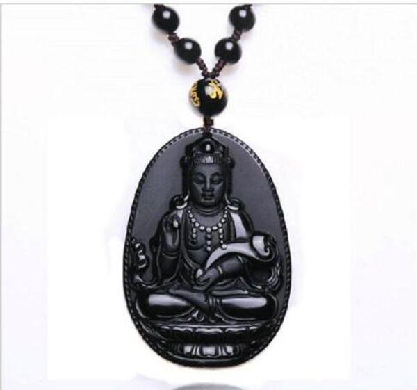 Natural Obsidian Necklace Fashion Black Ruyi Guan Yin Pendant For Women Men Vintage Fine Jade Jewelry Ornaments