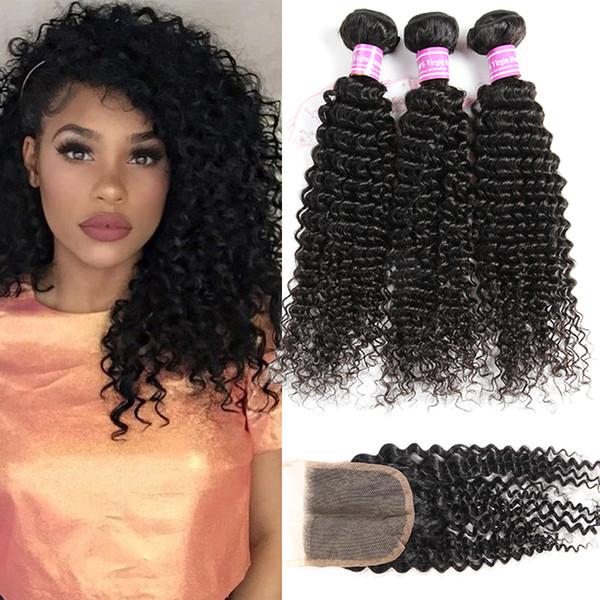 8A paquetes de pelo rizado rizado brasileño de la Virgen brasileña con cierre paquetes de onda de agua profunda sin procesar con cierre de encaje Remy armadura del pelo humano