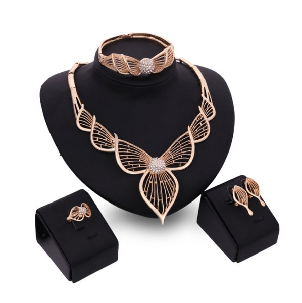 Fashion African beads Jewelry Sets Women customer nigerian Wedding Dubai Gold Silver jewelry set Crystal Bridal Accessories