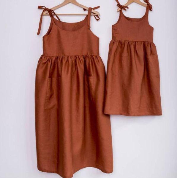 Everweekend Kids Girls Summer Candy Color Ruffles Halter Sundress Algodón Lino Lindos Niños Moda Western Dress
