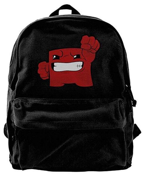 Super Meat Boy Canvas Shoulder Backpack Awesome Travel Backpack For Men & Women Teens College Travel Daypack Black