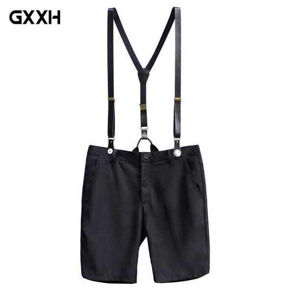 New Summer Korean Casual Shorts Men's Slim-type British Suspenders Shorts young couple men's strap Size 32 33 34