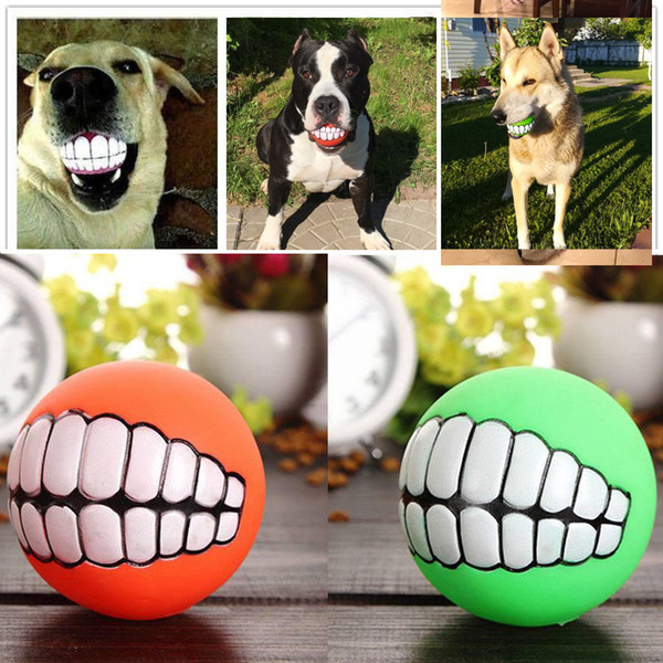 Pet Toys Funny Pet Dog Puppy Cat Ball Teeth Toy rubber PVC Chew Sound Dogs Play Fetching Squeak Toys Tooth toy ball Pet Supplies Chew Toy