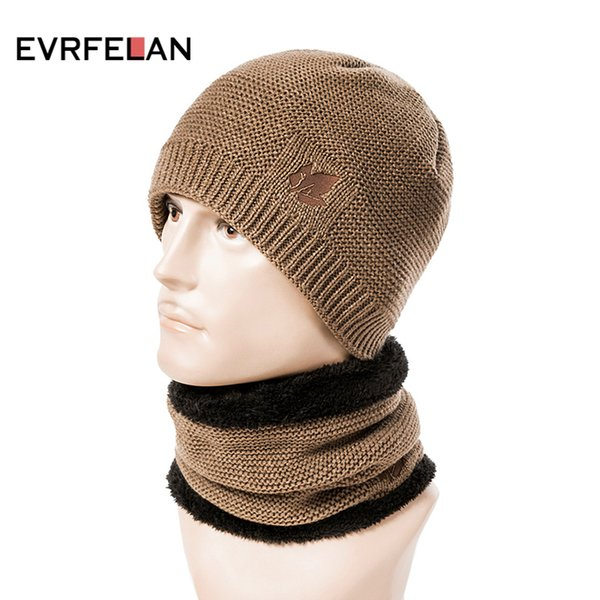 Evrfelan New Set Winter Hat and Scarf For Women Men 2 Piece Beanies Hat Ring Scarves Male Winter Knitted Hats Cap Set