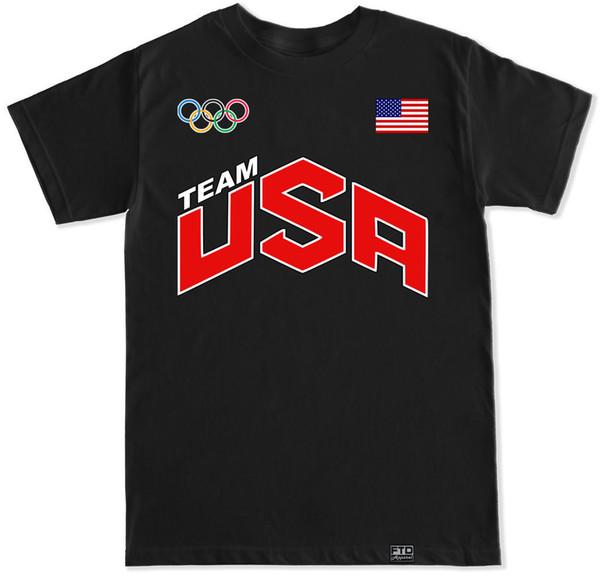 Équipe États-Unis Olympiques Olympiques Anneaux Rio Drapeau Usa 2016 Basketball T Shirt Débardeur T Shirt Pour Hommes Mode Blanc À Manches Courtes Personnalisé Grande Taille Fam