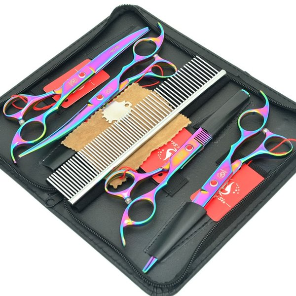 7.0Inch Meisha Colourful Pet Scissors Set Animals Beauty Haircut Tools Japan 440c Straight+Curved +Thinning Shears Dog Hair Clippers HB0099