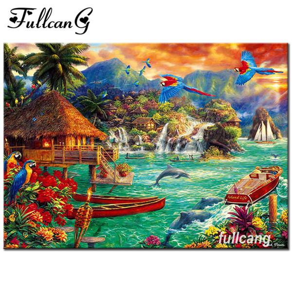 FULLCANG mosaic 5d diy diamond embroidery beautiful natural scenery diamond painting cross stitch full square drill G058