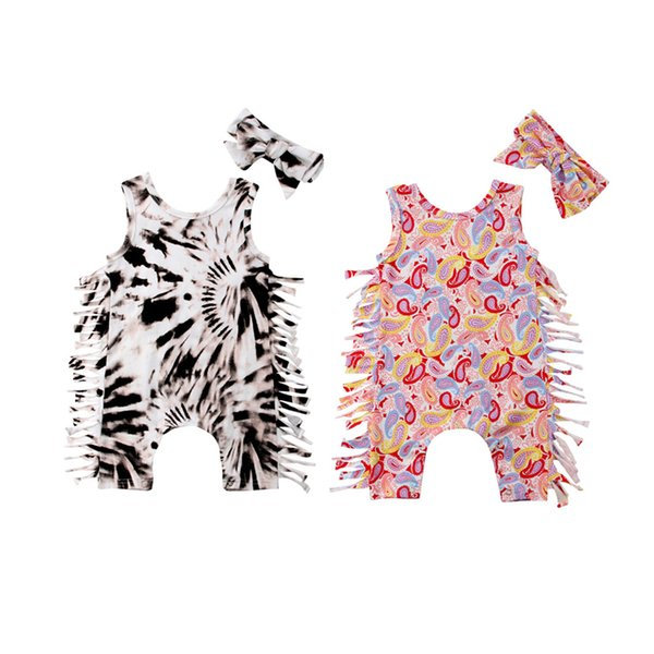 Two Colors Newborn Baby Girls Toddler Tassel Leopard Romper Jumpsuit Bodysuit With Headband 2pcs set Outfits Kid Clothing 0-24M
