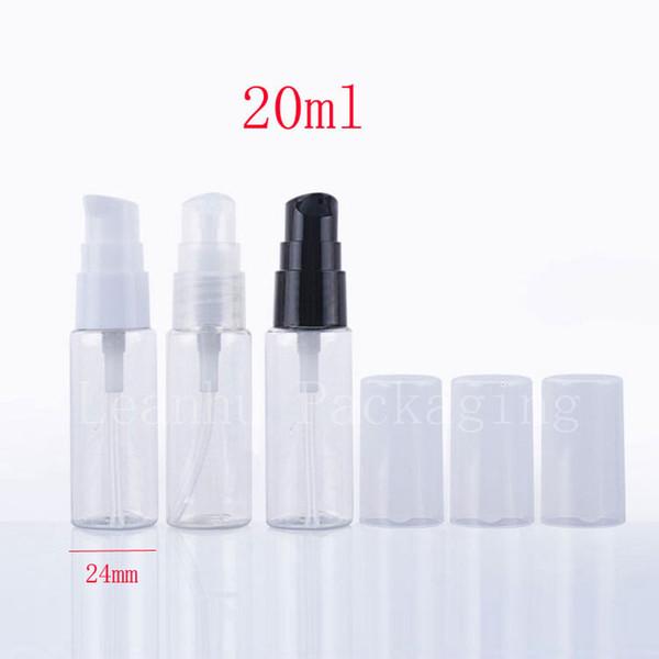 Botella cosmética de viaje de plástico vacía transparente de 20 ml, pequeñas botellas de hotel de crema para embalaje de cuidado personal 50 pc / lot