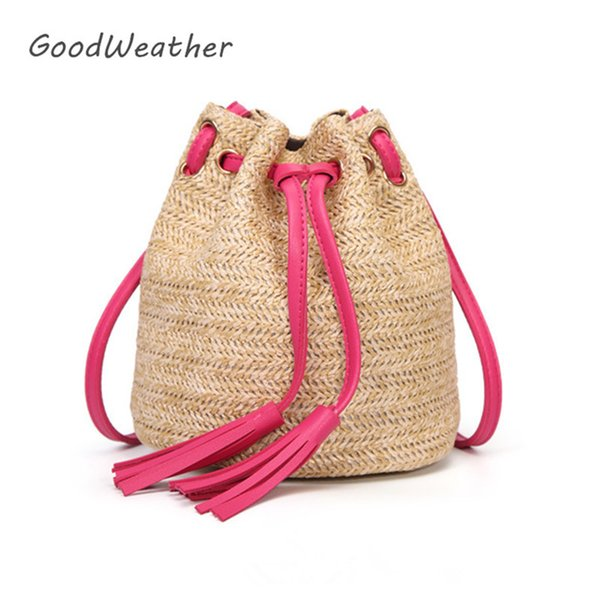 f2ddb35fbbc5 Casual Beach Bag Straw Designer Small Summer Shoulder Bags Cross Body Women  Handbag Fringe Drawstring Bucket Bag For Summer Overnight Bags Bags For ...