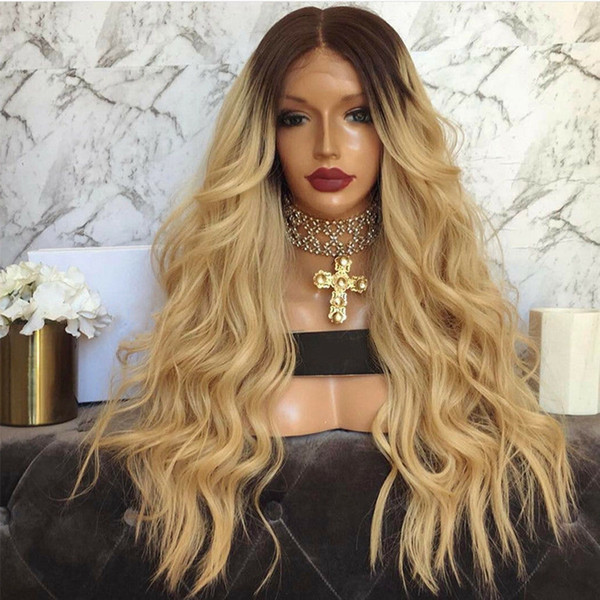 Stock long Blonde Wig With Dark Roots Ombre Blonde Lace Front Wig With Baby Hair Heat Resistant Synthetic Wigs For Women