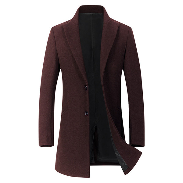 Fall simplicity Winter Coat Long men Thick Jacket Turn-down Collar Solid Single Breasted Pockets Red Grey Mens Black Trench