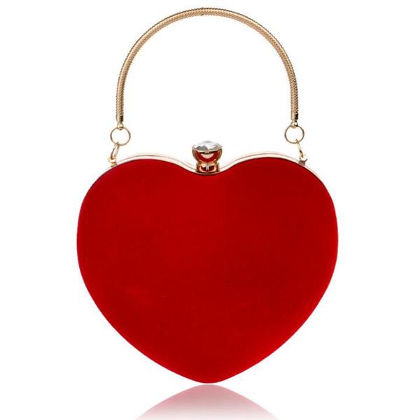 2018 Sac à main en forme de coeur élégant sac à main en forme de coeur dames sac d'embrayage de dîner 5 couleurs peut être personnalisé