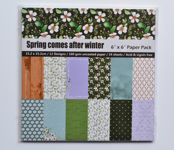 """DIY Album Photo Scrapbooking set Decorative Papers Spring comes Craft paper 6""""inch X 6"""" inch Single Side Printed 24 pcs/Set"""
