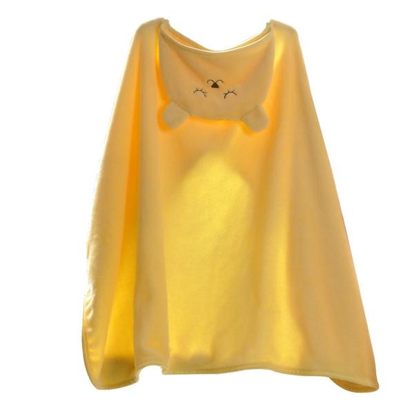 Kids Hooded Blanket Shawl Warm Flannel Catoon Stroller Car Sofa Bedding Blanket Robe Cape Cloak Boy Girl Yellow