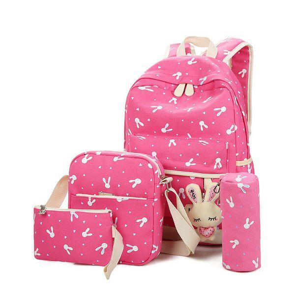 2018 Women Backpacks Cartoon Rabbit Printing 4Pcs/Sets School Backpack Canvas Schoolbags For Teenage Girls Students Bag Children