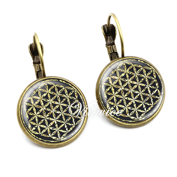Vintage flower of life earring glass dome om symbol zen buddhism earrings henna yoga mandala jewelry for women men gift