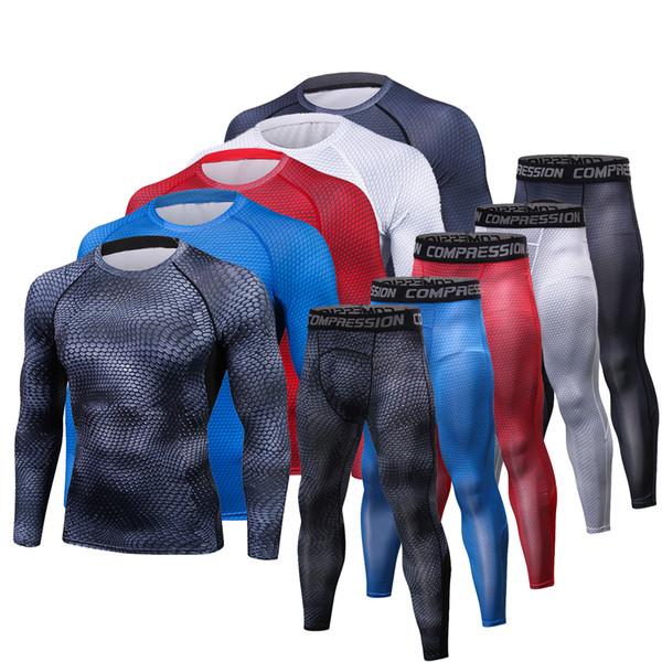 Camisas dos homens T Calças Set 2 Peça dos homens Sportswear Terno de Compressão Basculadores de Fitness Camada de Base de Base de Camisa Leggings Roupas Rashguard