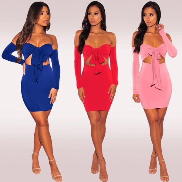Summer 2019 Women Sexy Dresses Long Sleeve Patchwork Bow Design Short Dress Off Shoulder Party Dress Pink Red Blue Bandage Dress