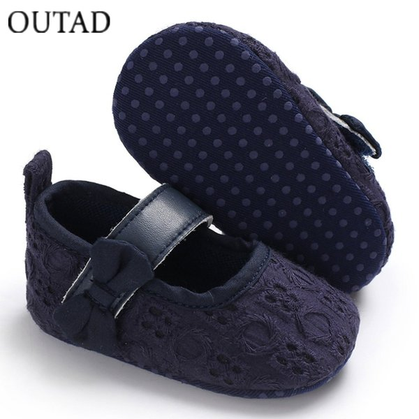 OUTAD Infant Baby Shoes Soft Sole Cloth Mary Jane Shoes With Bowknot Decor First Walkers for Newborn Baby Girls Moccasins New
