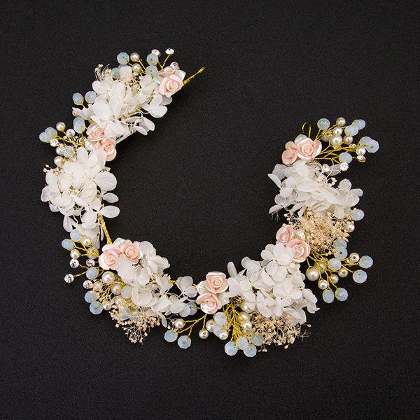 Bridal Tiaras Crystal Beads Rhinestone Flower Gold Diadem Pageant Crown for Brides Headbands Wedding Hair Accessories Wholesale