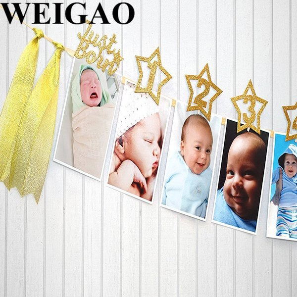 WEIGAO 1Set Happy Birthday Photo Banner Birthday Party Decoration DIY Monthly Paper One Year Old Baby Photo Album Decor Supplies