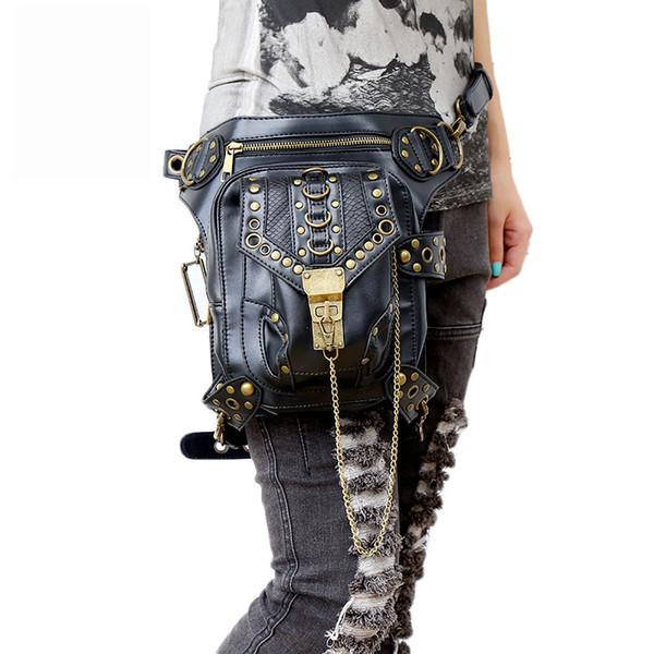 Luxus Handtasche Steam Punk Skull Gothic Taille Taschen PU Leder Niet Bein Oberschenkel Holster Bag personalisierte Telefon Geldbörse Umhängetasche