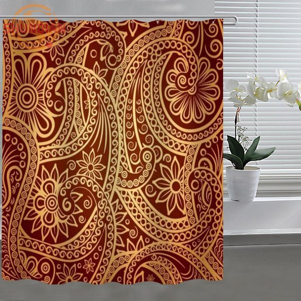 Retro West flowers Patterns Shower Curtain Modern Eco-friendly Fabric polyester Custom Bath curtains bath Decor