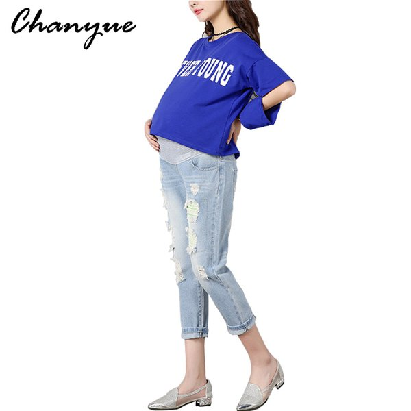694b3cd67e6c Chanyue Maternity Jeans For Pregnant Women Pants Spring Autumn Maternity  Holes Tights Care abdomen Trousers Nine