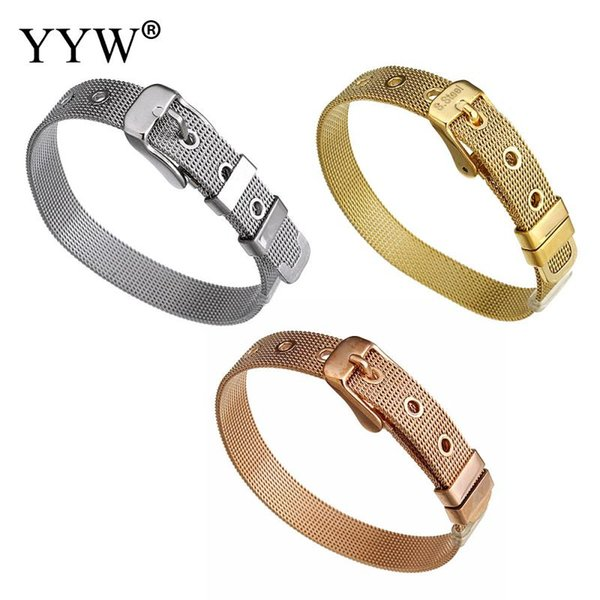 Women Stainless Steel Bracelet Bangle Gold Color Plated Wire Net Cord Adjustable Wristabnd Bracelets Approx 8.5 Inch Strand 2018