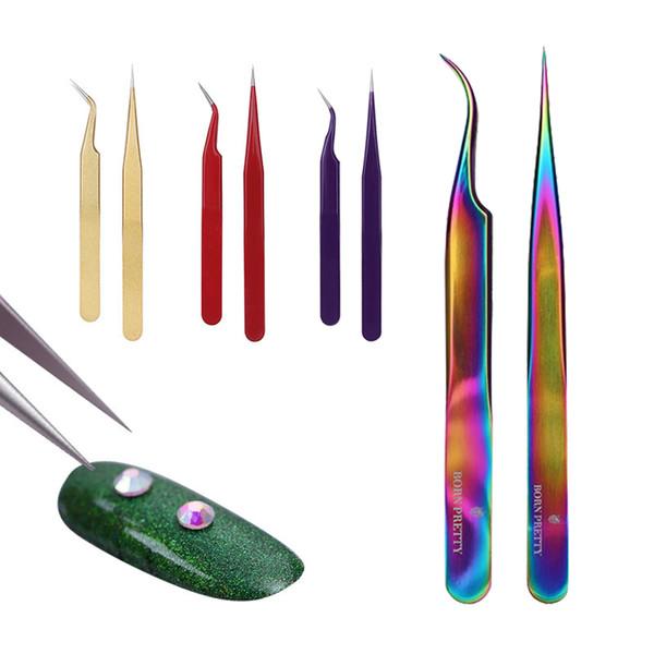 2Pcs Curved Straight Stainless Steel Tweezer False Eyelash Nipper Nail Sticker Rhinestone Picker Manicure Nail Art Tool D18111503