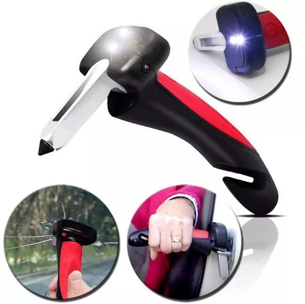 Matchless 3-in-1 Car Cane Car Handle Multifunctional Emergency Hammer & Mobility Aids With Flashlight & Seatbelt Cutter DHL free shipping