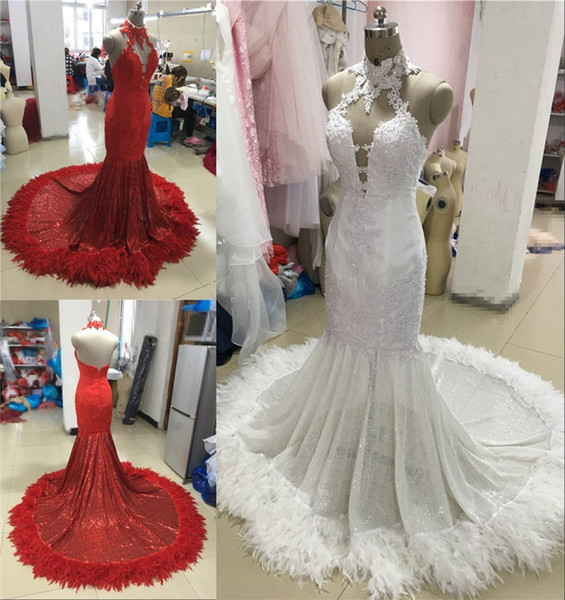 57b38669f5e Sexy Red Feather Mermaid 2K17 Prom Dresses 2018 Backless Halter Vintage  Lace Plus Size Black Girls African Arabic Formal Evening Party Gowns