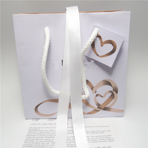 Heart Ribbon Paper Jewelry Bag Cardboard Box For Pandora Bracelet Earrings Ring Necklace Jewellery Packaging And Display