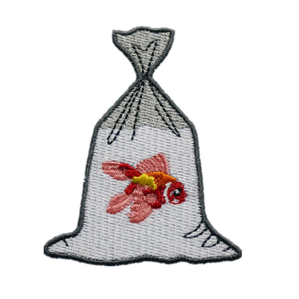 Embroidery Patch Fish in Water Bag Sew Iron On Embroidered Patches Badges For Bag Jeans Hat T Shirt DIY Appliques Craft Decoration